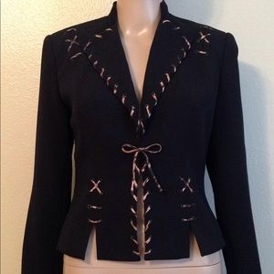 NWOT Cache black long sleeve blazer with detail, 2